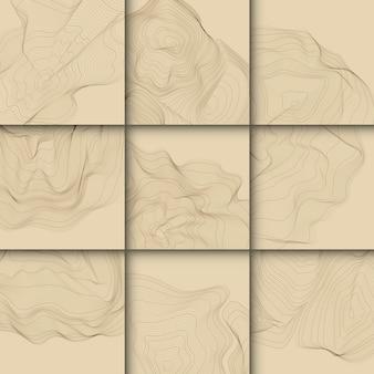 Colección de líneas de contorno abstracto marrón