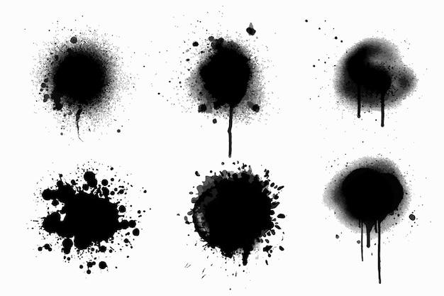 Colección de líneas de spray y goteos pintados a mano.
