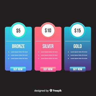 Colección de lista de precios en color degradado