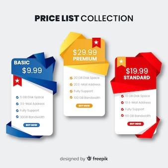 Colección de lista de precios en diseño plano