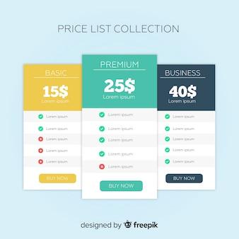Colección de listas de precios en diseño plano