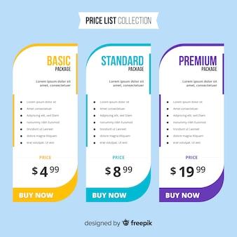 Colección listas de precios diseño plano