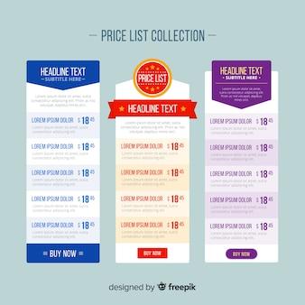 Colección de listas de precios diseño plano