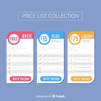 Colección de listas de precios