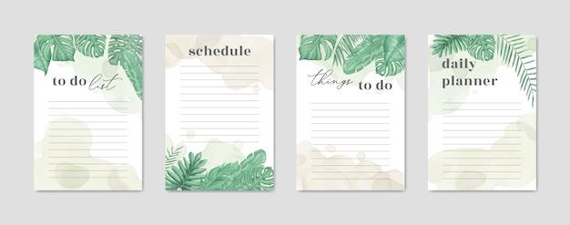 Colección de listas de tareas con estilo floral acuarela.