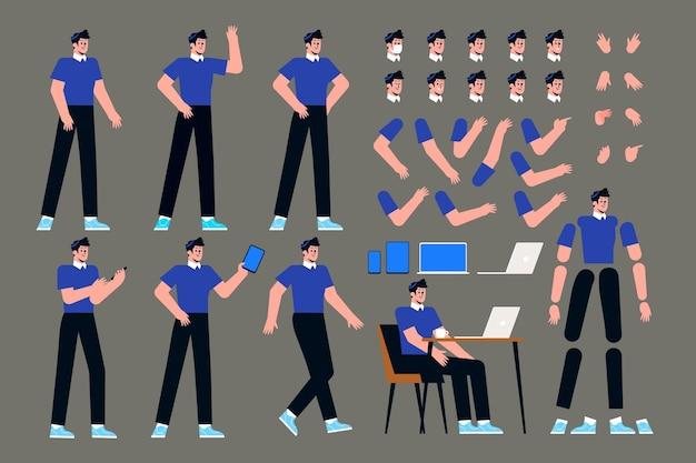 Colección de listos para la animación del personaje masculino.