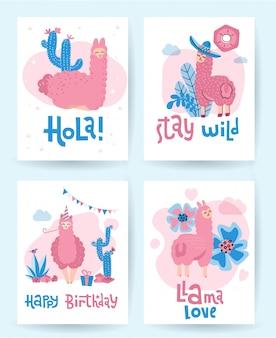 Colección de llamas y alpacas de lindas tarjetas de ilustración dibujadas a mano
