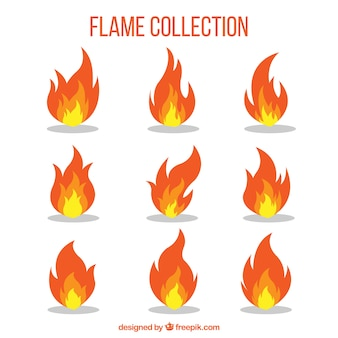 Colección de llamas decorativas