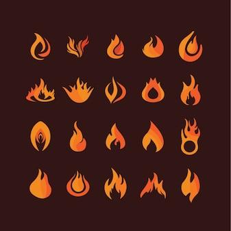 Colección de llamas naranjas