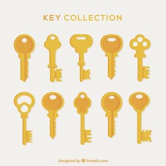 Colección de llaves doradas