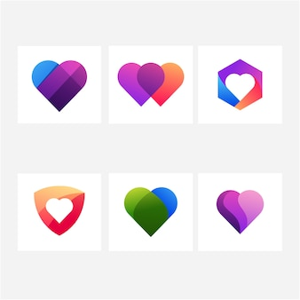Colección de logo de amor de corazón