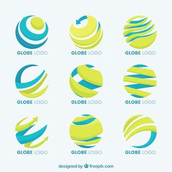 Colección de logo azul y amarillo del globo terráqueo