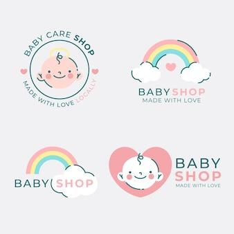 Colección de logo bebé y arcoiris.