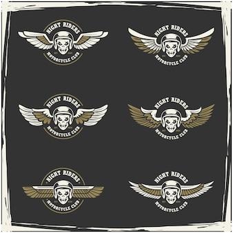 Colección de logo de club de motos y garaje.