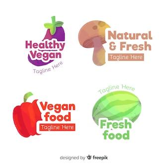 Colección logo comida sana dibujada a mano