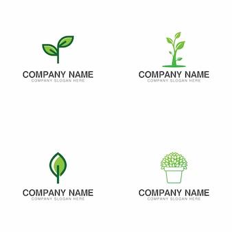 Colección de logo de crecimiento verde