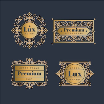 Colección de logo dorado retro de lujo