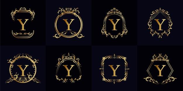 Colección de logo y inicial con adorno de lujo o marco de flores