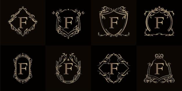 Colección de logo inicial f con adorno de lujo o marco de flores