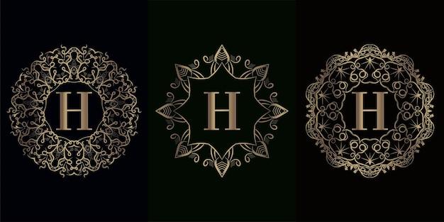 Colección de logo inicial h con marco de adorno de mandala de lujo