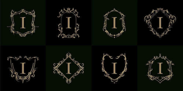 Colección de logo inicial i con adorno de lujo o marco de flores