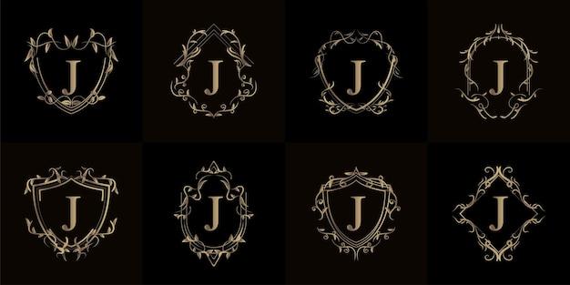 Colección de logo inicial j con adorno de lujo o marco de flores