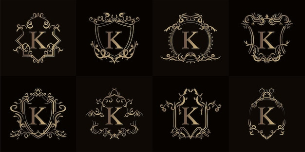 Colección de logo inicial k con adorno de lujo o marco de flores