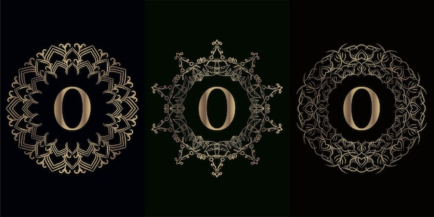 Colección de logo inicial o con marco de adorno de mandala de lujo
