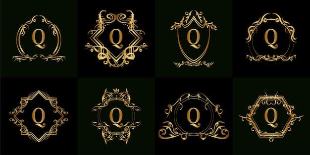 Colección de logo inicial q con adorno de lujo o marco de flores