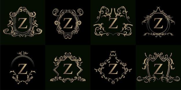 Colección de logo inicial z con adorno de lujo o marco de flores