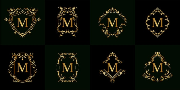 Colección de logo m inicial con adorno de lujo o marco de flores