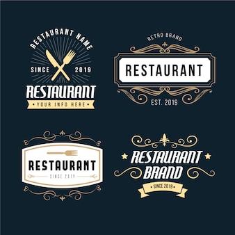 Colección de logo de marca retro de restaurante