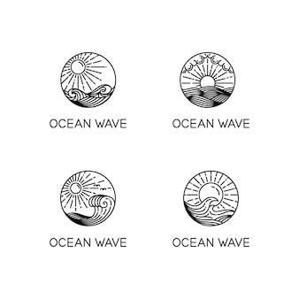 Colección de logo de ocean waves