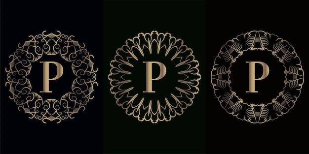 Colección de logo p inicial con marco de adorno de mandala de lujo