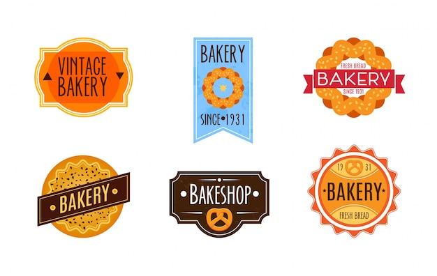 Colección de logo de panadería retro vintage