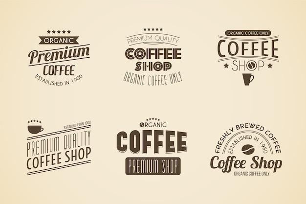 Colección de logo retro de cafetería
