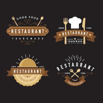 Colección de logo retro de restaurante con gorro de chef