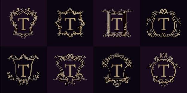 Colección de logo t inicial con adorno de lujo o marco de flores
