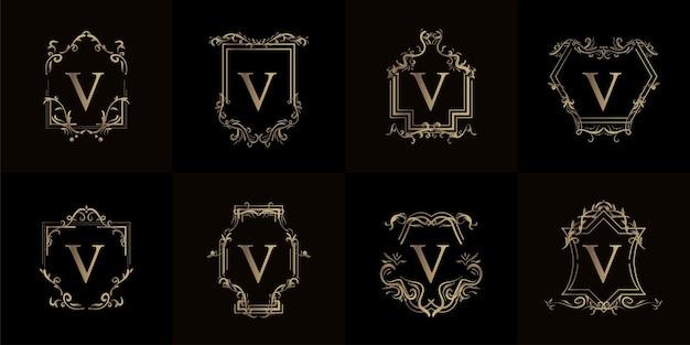 Colección de logo v inicial con adorno de lujo o marco de flores