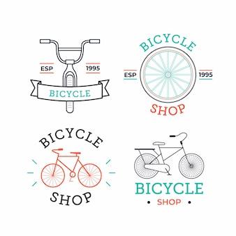 Colección de logo vintage de bicicleta de color pastel