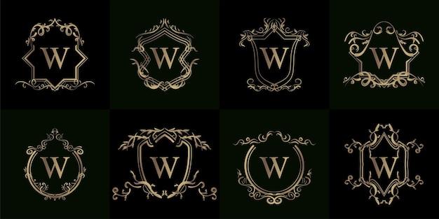 Colección de logo w inicial con adorno de lujo o marco de flores
