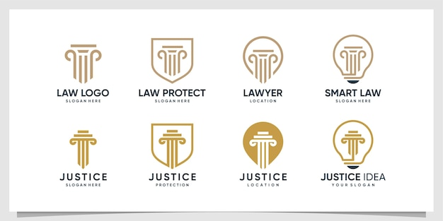 Colección de logos de abogados con diferentes elementos.
