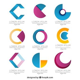 Colección de logos abstractos de la letra c