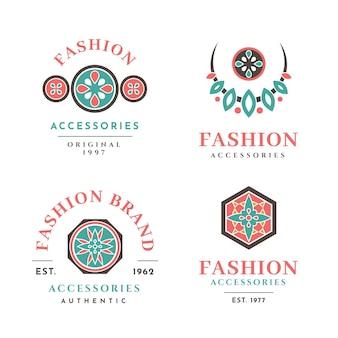 Colección de logos de accesorios de moda de diseño plano