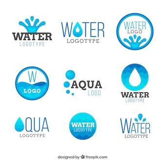 Colección de logos de agua para empresas en estilo plano