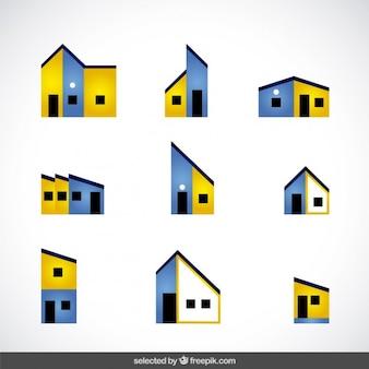 Colección de logos amarillos y azul de inmobiliaria