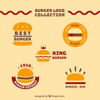 Colección de logos amarillos de hamburguesas