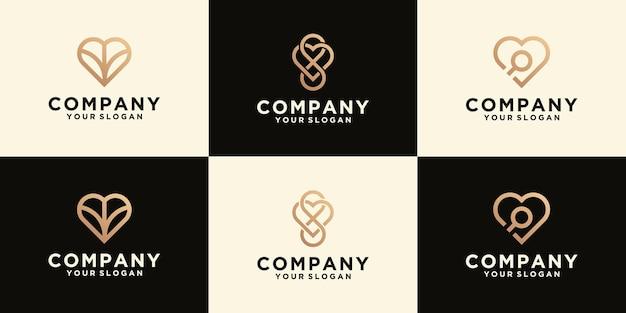 Colección de logos de amor en estilo de arte lineal