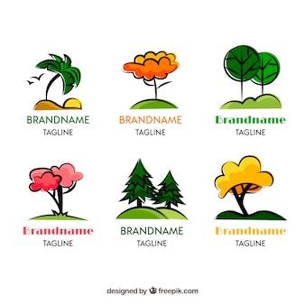 Colección de logos de árbol en estilo hecho a mano