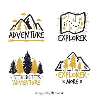 Colección logos aventura dibujados a mano